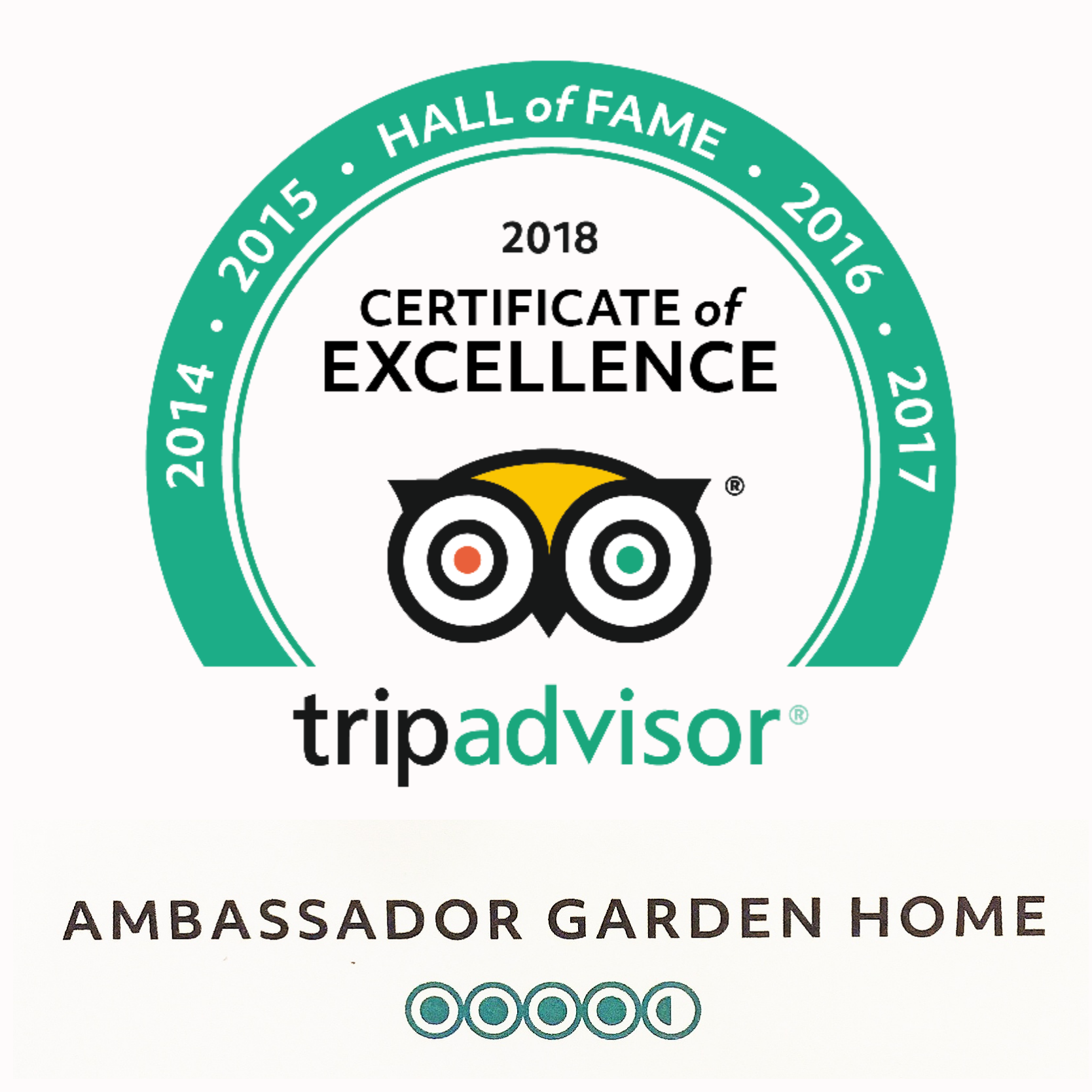 Ambassador Garden Home has been Awarded by Tripadvisor in Nepal for 2010 to 2018 the symbol of excellence in hospitality for 8 consecutive years.